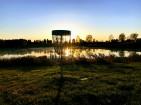 Disc Golf Basket Sunset