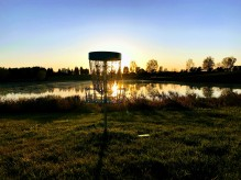 Disc Golf Basket Sunset