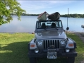 Jeep and Kayaks at Pebble Lake