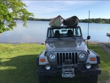 Jeep and Kayaks at Pebble Lake